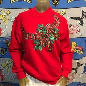 Vintage Handmade Ribbon Ugly Christmas Sweatshirt
